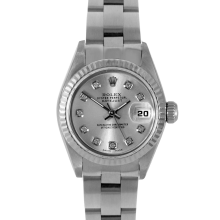 Rolex Ladies Datejust - Stainless Steel with Custom Silver Diamond Dial & Fluted Bezel On An Oyster Band 6917 Model