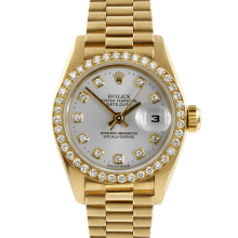 Rolex Ladies 18K Yellow Gold President - 69138 Factory Silver Diamond Dial with Factory Bead Set Diamond Bezel