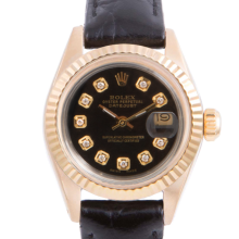 Pre-owned Rolex Ladies Yellow Gold Datejust - With A Black Diamond Dial and Fluted Bezel On A Black Leather Band Model 6917