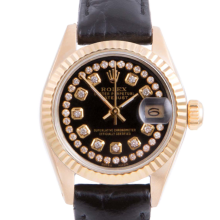 Pre-owned Rolex Ladies Yellow Gold Datejust - With A Black String Diamond Dial and Fluted Bezel On A Black Leather Band Model 6917