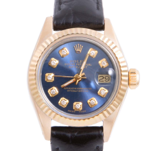 Pre-owned Rolex Ladies Yellow Gold Datejust - With A Blue Diamond Dial and Fluted Bezel On A Black Leather Band Model 6917