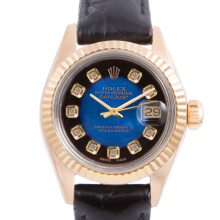 Pre-owned Rolex Ladies Yellow Gold Datejust - With A Blue Vignette Diamond Dial and Fluted Bezel On A Black Leather Band Model 6917
