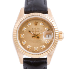 Pre-owned Rolex Ladies Yellow Gold Datejust - With A Champagne Diamond Dial and Fluted Bezel On A Black Leather Band Model 6917