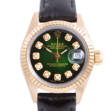 Pre-owned Rolex Ladies Yellow Gold Datejust - With A Green Vignette Diamond Dial and Fluted Bezel On A Black Leather Band Model 6917