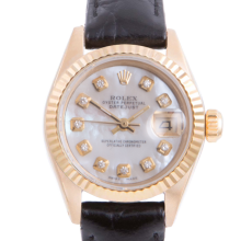 Pre-owned Rolex Ladies Yellow Gold Datejust - With A Mother of Pearl Diamond Dial and Fluted Bezel On A Black Leather Band Model 6917