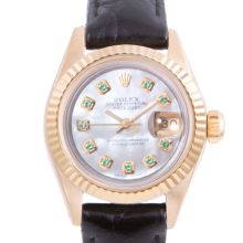Pre-owned Rolex Ladies Yellow Gold Datejust - With A Mother of Pearl Emerald Dial and Fluted Bezel On A Black Leather Band Model 6917