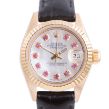 Pre-owned Rolex Ladies Yellow Gold Datejust - With A Mother of Pearl Ruby Dial and Fluted Bezel On A Black Leather Band Model 6917