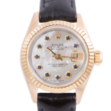 Pre-owned Rolex Ladies Yellow Gold Datejust - With A Mother of Pearl Sapphire Dial and Fluted Bezel On A Black Leather Band Model 6917