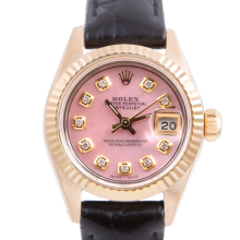 Pre-owned Rolex Ladies Yellow Gold Datejust - With A Pink Diamond Dial and Fluted Bezel On A Black Leather Band Model 6917