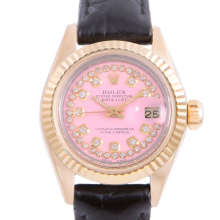 Pre-owned Rolex Ladies Yellow Gold Datejust - With A Pink String Diamond Dial and Fluted Bezel On A Black Leather Band Model 6917
