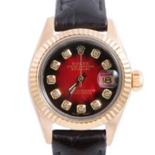 Pre-owned Rolex Ladies Yellow Gold Datejust - With A Red Vignette Diamond Dial and Fluted Bezel On A Black Leather Band Model 6917