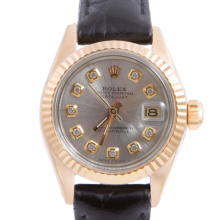 Pre-owned Rolex Ladies Yellow Gold Datejust - With A Silver Diamond Dial and Fluted Bezel On A Black Leather Band Model 6917
