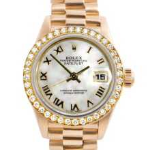 Rolex Ladies 18K Yellow Gold President - 69138 Factory Mother of Pearl Roman Dial with Rolex Factory Bead Set Diamond Bezel