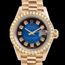 Rolex Ladies 18K Yellow Gold President - 69138 Factory Blue Vignette Diamond Dial with Factory Bead Set Diamond & Sapphire Bezel