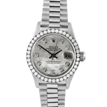 Rolex Ladies 18K White Gold President - 69179 Factory Mother of Pearl Diamond Dial with Factory Bead Set Diamond Bezel