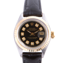 Pre-owned Rolex Ladies Two Tone Datejust - With A Black Diamond Dial and Fluted Bezel On A Black Leather Band Model 6917