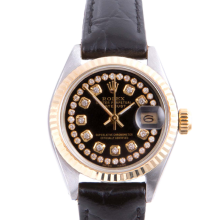 Pre-owned Rolex Ladies Two Tone Datejust - With A Black String Diamond Dial and Fluted Bezel On A Black Leather Band Model 6917