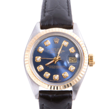Pre-owned Rolex Ladies Two Tone Datejust - With A Blue Diamond Dial and Fluted Bezel On A Black Leather Band Model 6917