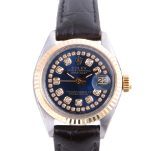 Pre-owned Rolex Ladies Two Tone Datejust - With A Blue String Diamond Dial and Fluted Bezel On A Black Leather Band Model 6917