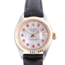 Pre-owned Rolex Ladies Two Tone Datejust - With A Mother of Pearl Ruby Dial and Fluted Bezel On A Black Leather Band Model 6917