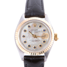 Pre-owned Rolex Ladies Two Tone Datejust - With A Mother of Pearl Sapphire Dial and Fluted Bezel On A Black Leather Band Model 6917