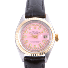 Pre-owned Rolex Ladies Two Tone Datejust - With A Pink String Diamond Dial and Fluted Bezel On A Black Leather Band Model 6917