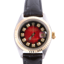 Pre-owned Rolex Ladies Two Tone Datejust - With A Red Vignette Diamond Dial and Fluted Bezel On A Black Leather Band Model 6917