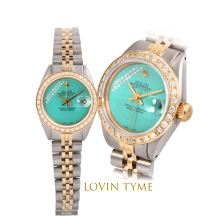 Rolex Ladies Two Tone Datejust - With A Custom Aqua Gift Wrap Diamond Dial Fluted Bezel - Jubilee Band - Model 6917