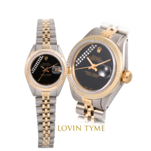 Rolex Ladies Two Tone Datejust - With A Custom Black Gift Wrap Diamond Dial Fluted Bezel - Jubilee Band - Model 6917