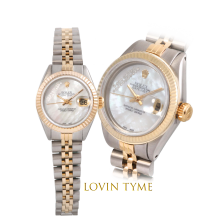 Rolex Ladies Two Tone Datejust - With A Custom Mother of Pearl Gift Wrap Diamond Dial Fluted Bezel - Jubilee Band - Model 6917
