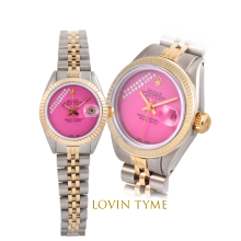 Rolex Ladies Two Tone Datejust - With A Custom Pink Gift Wrap Diamond Dial Fluted Bezel - Jubilee Band - Model 6917
