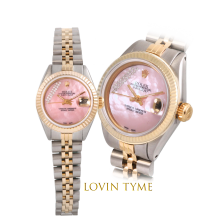 Rolex Ladies Two Tone Datejust - With A Custom Pink Mother of Pearl Gift Wrap Diamond Dial Fluted Bezel - Jubilee Band - Model 6917