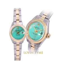 Rolex Ladies Two Tone Datejust - With A Custom Aqua Gift Wrap Diamond Dial Fluted Bezel - Oyster Band Model 6917