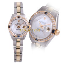 Pre-owned Rolex Ladies Two Tone Datejust - Mother of Pearl Gift Wrap Dial & Sapphire Diamond Bezel On an Oyster Band 6917 Model