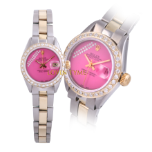Pre-owned Rolex Ladies Two Tone Datejust - Pink Gift Wrap Dial & Diamond Bezel On an Oyster Band 6917 Model