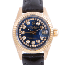 Pre-owned Rolex Ladies Yellow Gold Datejust - With A Blue String Diamond Dial and Fluted Bezel On A Black Leather Band Model 6917