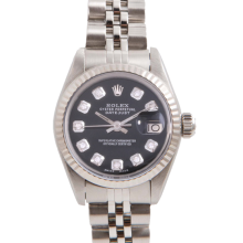 Pre-Owned Rolex Ladies Datejust - Stainless Steel Black Diamond Dial & Fluted Bezel On A Jubilee Band 6917 Model