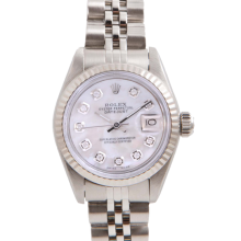 Pre-Owned Rolex Ladies Datejust - Stainless Steel Mother of Pearl Diamond Dial & Fluted Bezel On A Jubilee Band 6917 Model