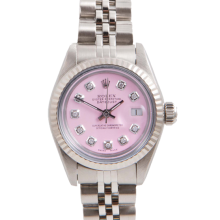 Pre-Owned Rolex Ladies Datejust - Stainless Steel Pink Diamond Dial & Fluted Bezel On A Jubilee Band 6917 Model