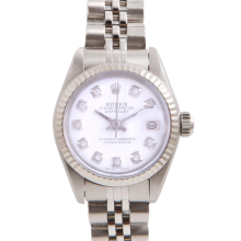 Pre-Owned Rolex Ladies Datejust - Stainless Steel White Diamond Dial & Fluted Bezel On A Jubilee Band 6917 Model