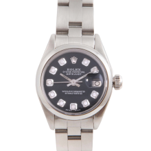 Pre-Owned Rolex Ladies Datejust - Stainless Steel Black Diamond Dial & Smooth Bezel On An Oyster Band 6917 Model