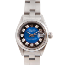 Pre-Owned Rolex Ladies Datejust - Stainless Steel Blue Vignette Diamond Dial & Smooth Bezel On An Oyster Band 6917 Model