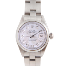 Pre-Owned Rolex Ladies Datejust - Stainless Steel Mother of Pearl Diamond Dial & Smooth Bezel On An Oyster Band 6917 Model