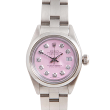 Pre-Owned Rolex Ladies Datejust - Stainless Steel Pink Diamond Dial & Smooth Bezel On An Oyster Band 6917 Model