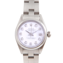 Pre-Owned Rolex Ladies Datejust - Stainless Steel White Diamond Dial & Smooth Bezel On An Oyster Band 6917 Model