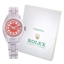 Pre-Owned Rolex Ladies Datejust - Stainless Steel Orange String Diamond Dial & Fluted Bezel On An Oyster Folded Band 6917 Model with Papers