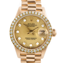 Rolex Ladies 18K Yellow Gold President - 69138 Factory Champagne Diamond Dial with Factory Bead Set Diamond Bezel