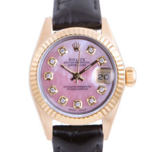 Pre-owned Rolex Ladies Yellow Gold Datejust - With A Pink Mother of Pearl Diamond Dial and Fluted Bezel On A Black Leather Band Model 6917