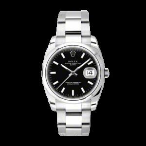 Rolex Mens Date - Black Index/Stick Dial - Smooth Bezel - Oyster Bracelet 34 MM 115200