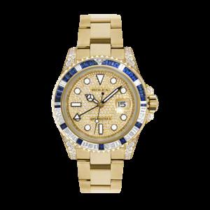 Rolex Men's 18K Yellow Gold GMT Master II - Pave Diamond Dial - Diamond/Sapphire Bezel - Diamond Lugs - Oyster Bracelet 40 MM 116758